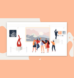 Excursion modern abstract art gallery or museum vector