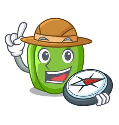Explorer cartoon fresh green pepper in the kitchen vector