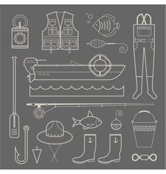 fishing icons vector image