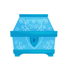 Flat icon of closed bright blue chest with vector