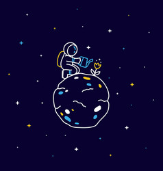 Funny astronaut sitting on planet and watering vector