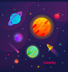 galaxy or space with planets and spaceship comet vector image