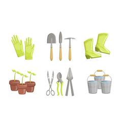 garden tools set gardening equipment flower pot vector image