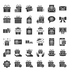 Gift box or present box icon solid style vector