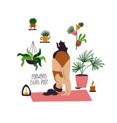 Girl doing forward bend yoga pose with cat vector