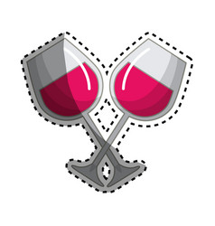 Glass of wine tasty liquor beverage vector