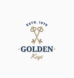 Golden keys retro abstract sign symbol or vector
