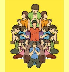Group people pray to god vector