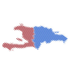 Halftone abstract haiti and dominican republic map vector