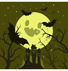 halloween bats flying in night with a full moon on vector image