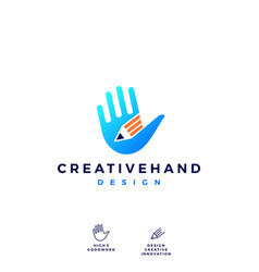 hand pencil logo icon vector image