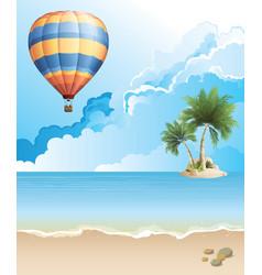 Hot air balloon over ocean vector