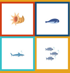 Icon flat nature set of shark tuna cachalot and vector