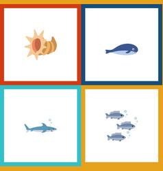 icon flat nature set of shark tuna cachalot and vector image
