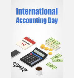 International accounting day concept background vector