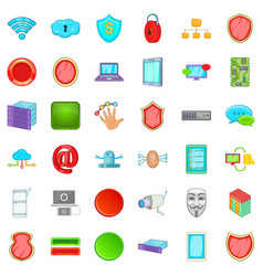 internet security icons set cartoon style vector image