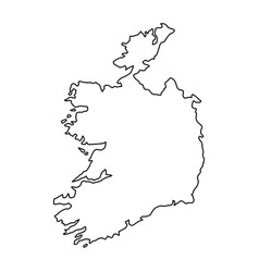 Ireland map of black contour curves of vector