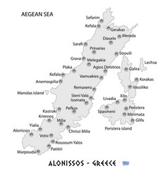 island of alonissos in greece white map vector image