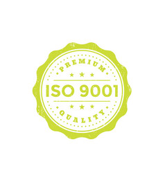 iso 9001 vintage badge green on white vector image