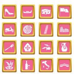 Italia icons pink vector