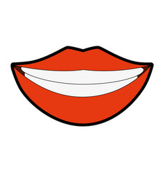 Lips pop art cartoon vector