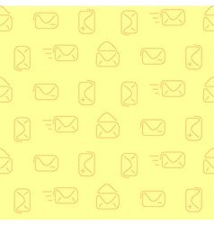 Mail envelop yellow seamless pattern vector image