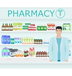 Male pharmacist at counter in a pharmacy vector