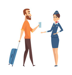 man with fly ticket cartoon guy going on plane vector image
