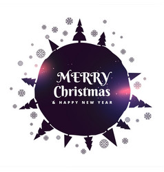 merry christmas background with trees and vector image