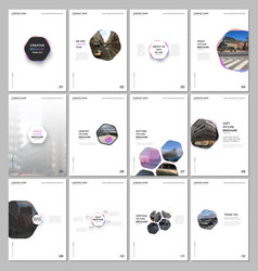 minimal brochure templates with hexagons and vector image