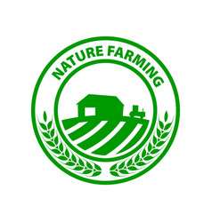 Natural farming round green logo green leafes vector