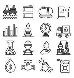 oil industry icons set on white background line vector image