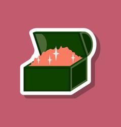 Paper sticker on stylish background treasure chest vector