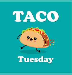 Poster design with taco character vector