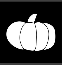 Pumpkin white color icon vector
