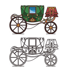 Retro buggy for wedding or vintage royal chariot vector