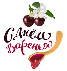 ripe cherry and wooden spoon jam vector image