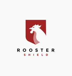 Rooster and shield logo icon vector
