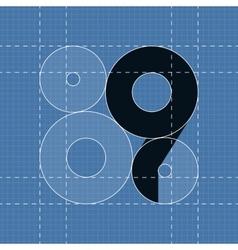 Round engineering font Symbol 9 vector image