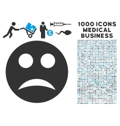 Sad Icon with 1000 Medical Business Symbols vector image