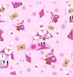 seamless new year pattern on pink backgroundsanta vector image