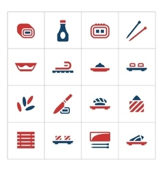 set color icons sushi vector image