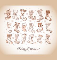 set doodle sketch christmas socks in vintage vector image