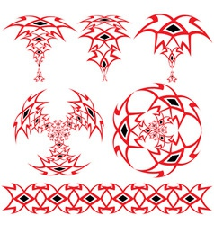 set from the arabian ornaments of red and black co vector image
