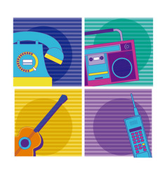 set of 90s cartoons elements vector image