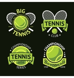 set old style tennis labels with ball and vector image