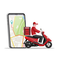 smartphone with app and man riding motor scooter vector image