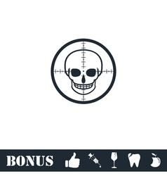Sniper skull icon flat vector