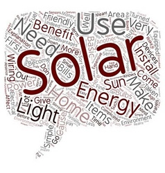 Solar home energy text background wordcloud vector