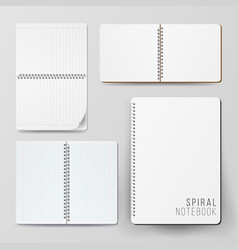 spiral empty notepad blank mockup set template vector image